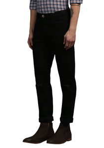 Black Regular Fit Mid Rise Men's Stretch Jeans