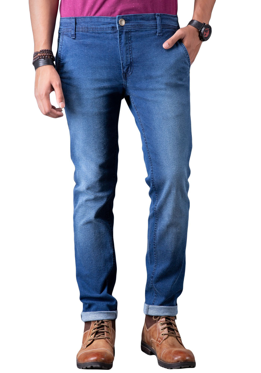 Blue slim fit cross pocket Men's jeans