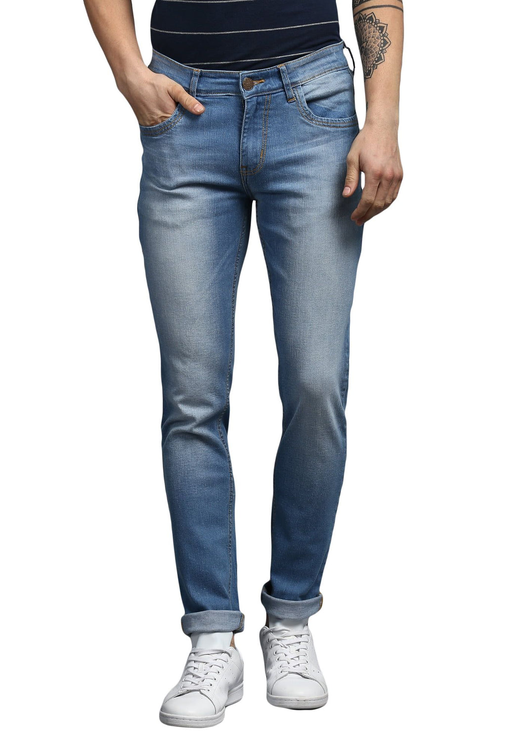 Blue Slim Fit Mid Rise Men's Stretch Jeans