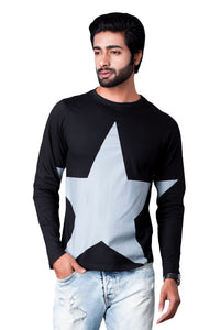 Black Printed Full Sleeve Round Neck T-shirt
