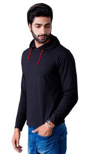 Black Full Sleeve Hooded T-Shirt