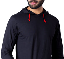 Load image into Gallery viewer, Black Full Sleeve Hooded T-Shirt