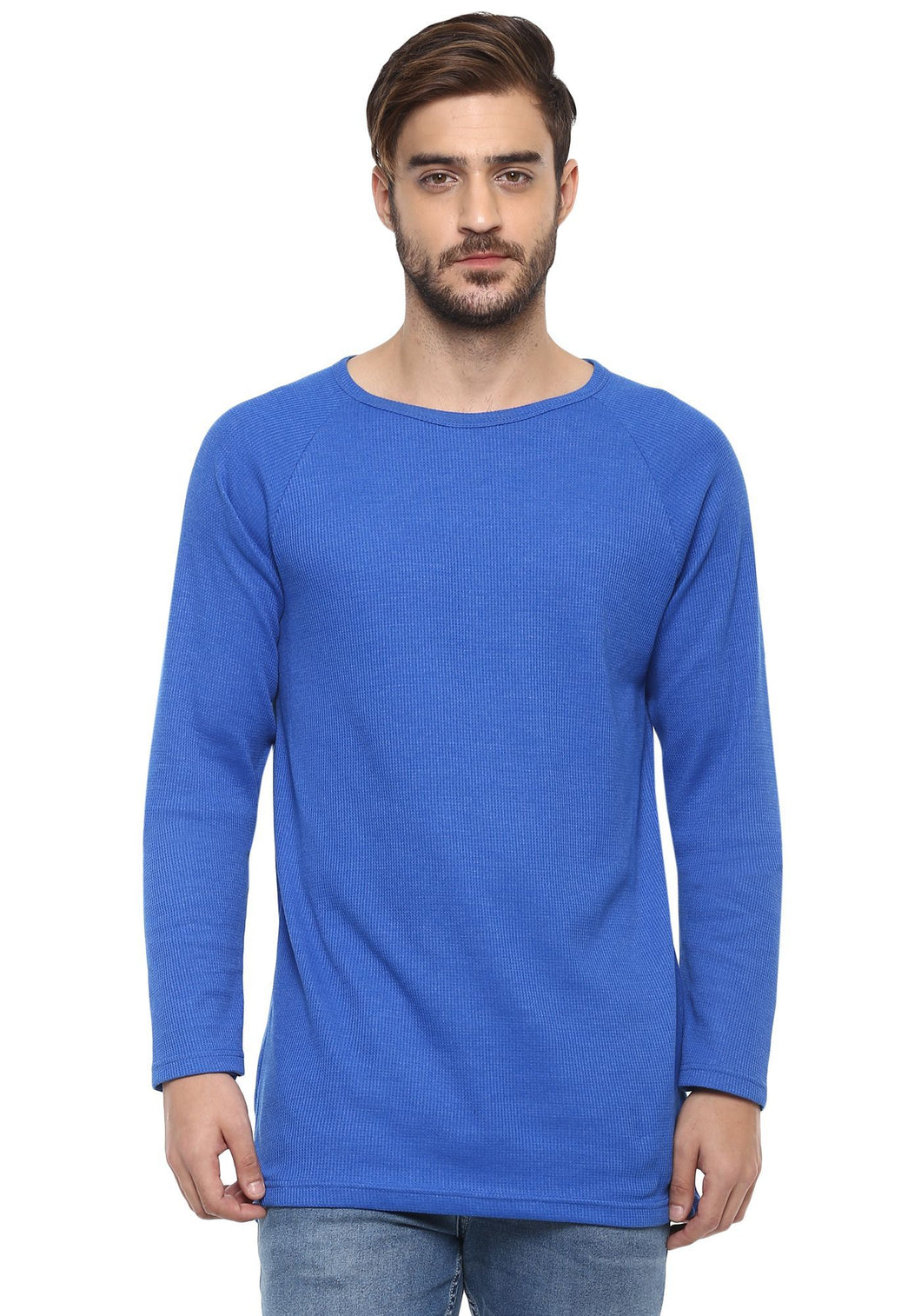 Full sleeve Royal Blue Self Stripes Round Neck Tee