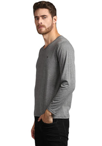 full sleeve dark grey V neck Tee