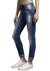 ripped classic Blue Skinny Fit Mid Rise women's Stretch Jeans