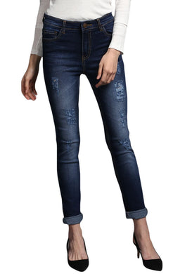 ripped classic Blue Slim Fit Mid Rise women's Stretch Jeans