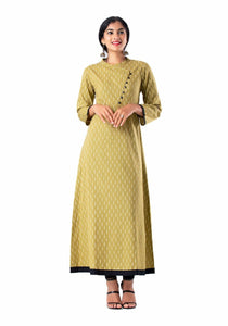 Brown printed angrakha 3/4th sleeve kurti