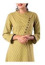 Load image into Gallery viewer, Brown printed angrakha 3/4th sleeve kurti