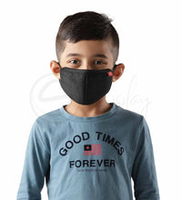 Load image into Gallery viewer, Schoolay Defenders kids pack of 4 black reusable 4-layer outdoor masks