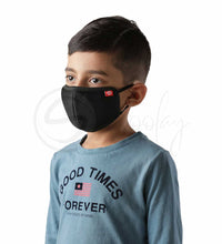 Load image into Gallery viewer, Schoolay Defenders kids pack of 2 black reusable 4-layer outdoor masks