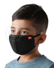 Load image into Gallery viewer, Voonik Defenders kids pack of 4 black reusable 4-layer outdoor masks