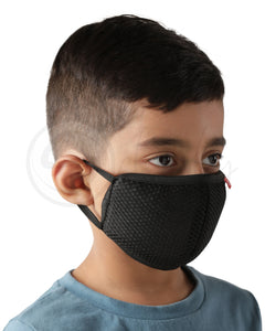 Voonik Defenders kids pack of 4 black reusable 4-layer outdoor masks