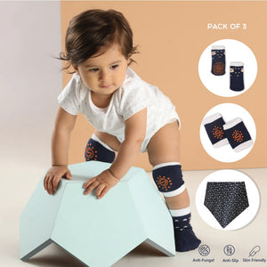 Anti Skid Infant Cotton Socks + Knee Pad + Bandana Drooling Bib (Navy & White) (0-2 Years)