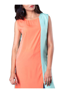Coral and Mint Color Block Sleeveless Asymmetric kurti