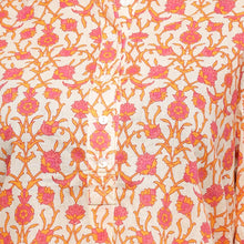 Load image into Gallery viewer, Cream orange and pink printed full sleeve short kurti