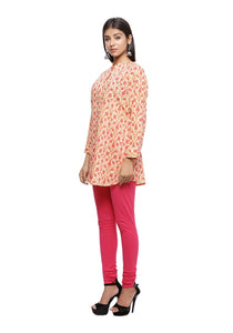 Cream orange and pink printed full sleeve short kurti
