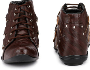 Dark brown studded trekking boots