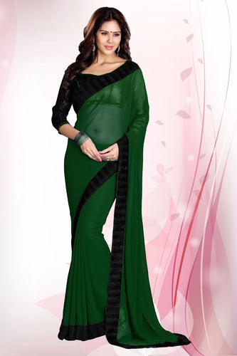 Dark Green Faux Georgette Party Wear Saree