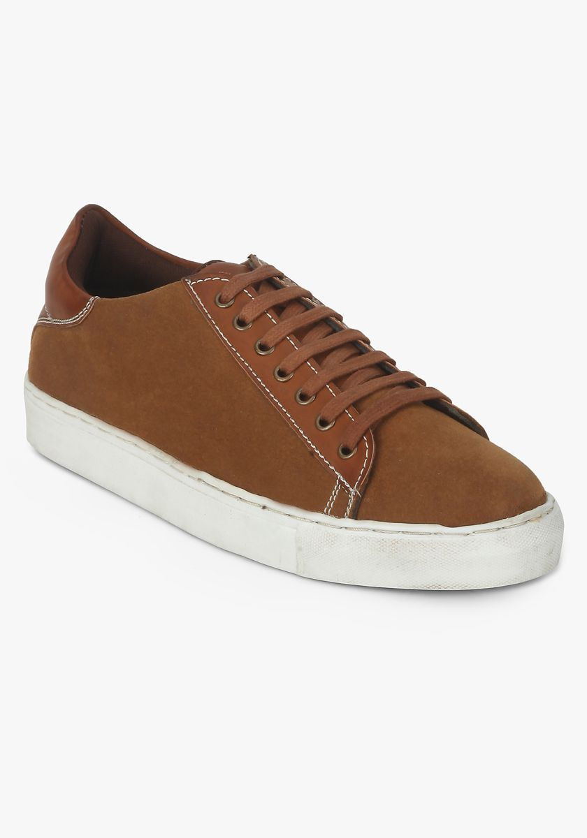 Premium Men's Tan Lace-Up Sneakers