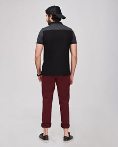 Bollywoo-MCA Black Casual Polo T-shirt