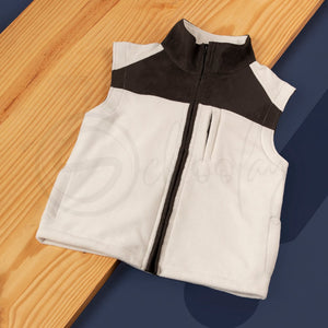 Polar English Fleece Bomber Vest Beige & Brown