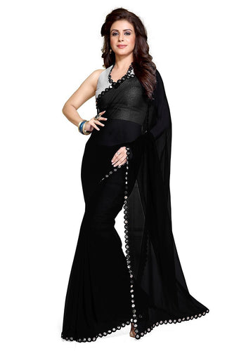 Jazzy Black Faux Georgette Party Wear Saree