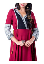 Load image into Gallery viewer, Maroon and Black Color Blocked Flared Full Sleeve Kurti.