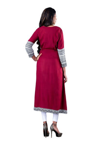 Maroon and Black Color Blocked Flared Full Sleeve Kurti.