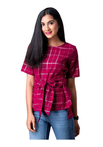Maroon half sleeve front knotted top