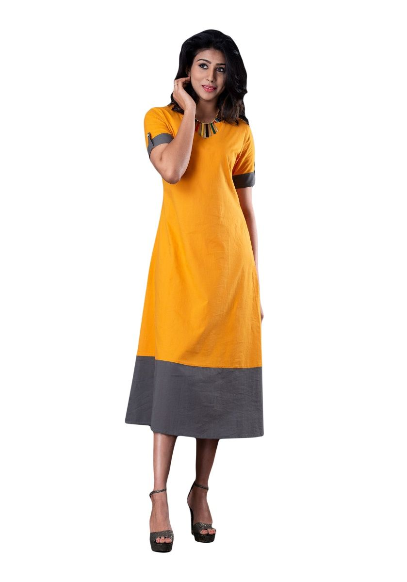 Mustard and Grey A-line Color Block Half Sleeve Kurti