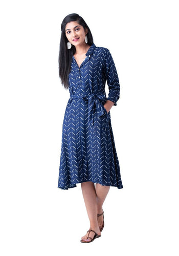 Navy printed A-line 3/4th sleeve dress