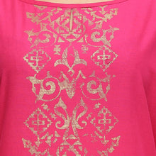Load image into Gallery viewer, Pink and gold printed 3/4th sleeve straight kurti
