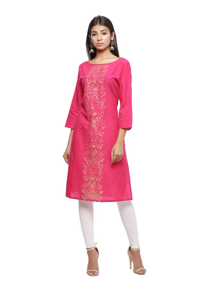 Pink and gold printed 3/4th sleeve straight kurti
