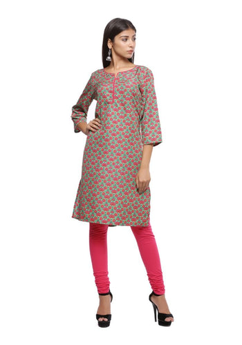 Pink and green printed 3/4th sleeve straight kurti