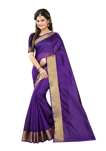 Purple Cotton Plain Saree