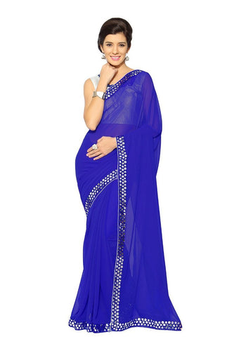 Ravishing Royal Blue Faux Georgette Party Wear Saree