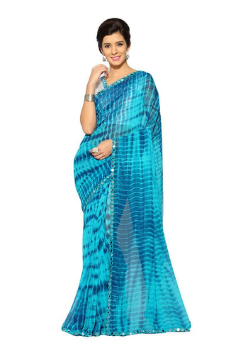 Ravishing Turquoise Faux Georgette Party Wear Saree
