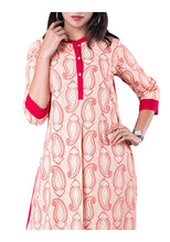 Load image into Gallery viewer, Red and White Paisley Print Jacket Style 3/4th Sleeve Kurti