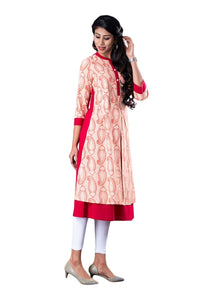 Red and White Paisley Print Jacket Style 3/4th Sleeve Kurti