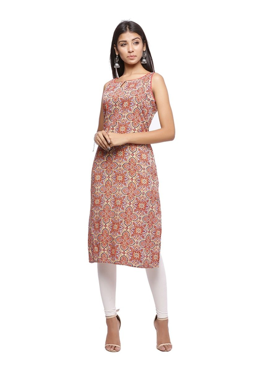 red, blue and cream sleeveless printed straight kurti