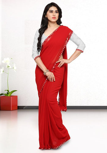 Red Faux Georgette Solid Saree