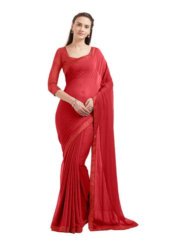 Red Marble Chiffon Party Wear Saree