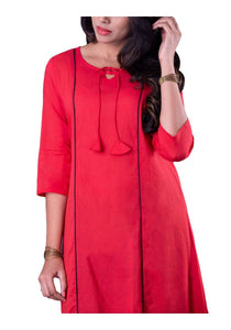 Red Solid Asymmetric 3/4th Sleeve Kurti