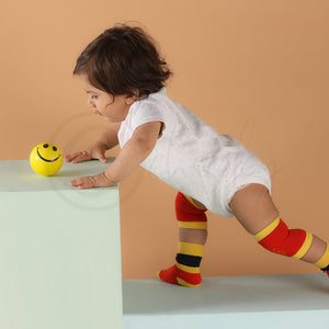 Anti Skid Infant Cotton Socks + Knee Pad + Bandana Drooling Bib (Red & Yellow) (0-2 Years)