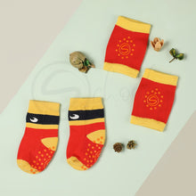 Load image into Gallery viewer, Anti Skid Infant Cotton Socks + Knee Pad + Bandana Drooling Bib (Red & Yellow) (0-2 Years)