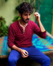 Load image into Gallery viewer, Bollywoo- LUKA CHUPPI Maroon Sprinkle Henley
