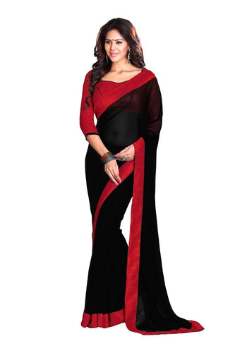 Stylish Black Faux Georgette Party Wear Saree
