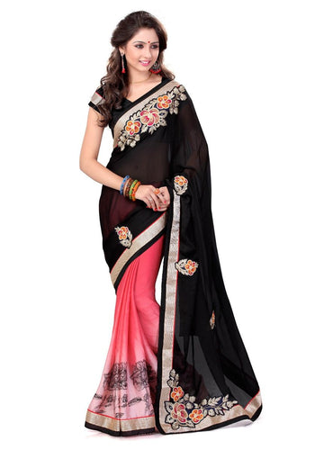 Stylish Black Satin Chiffon Designer Party Saree