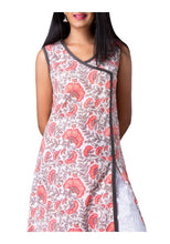 Load image into Gallery viewer, White and Coral Floral Print A-line Sleeveless Kurti