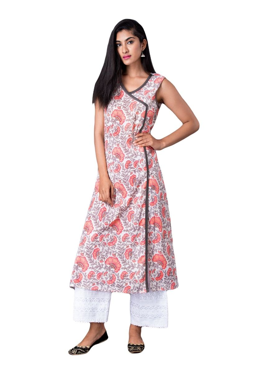 White and Coral Floral Print A-line Sleeveless Kurti